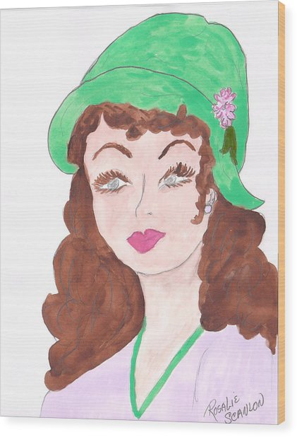 Lady With The Green Hat Wood Print by Rosalie Scanlon