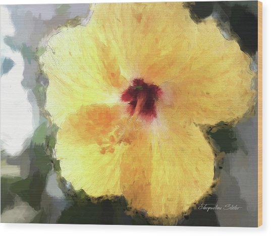 Lady Yellow Wood Print