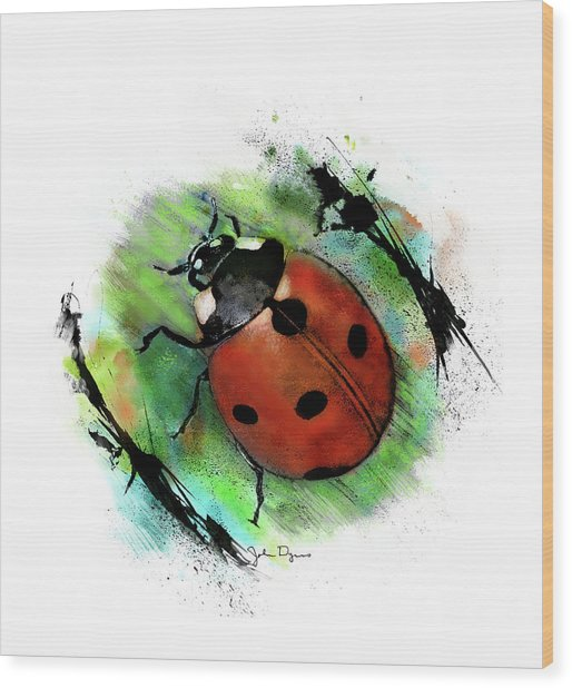 Ladybug Drawing Wood Print