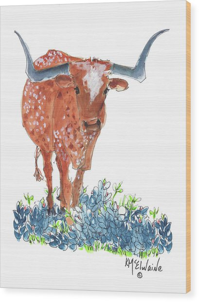 Ladybug In The Bluebonnets Lh002 By Kmcelwaine Wood Print