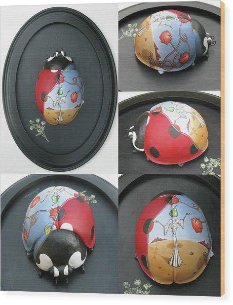 Ladybug On The Half Shell Wood Print