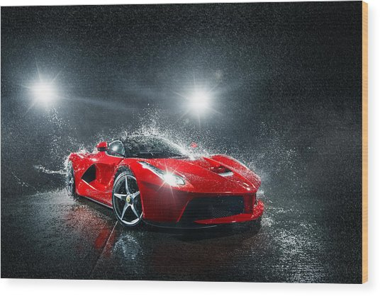 Laferrari Splash Wood Print