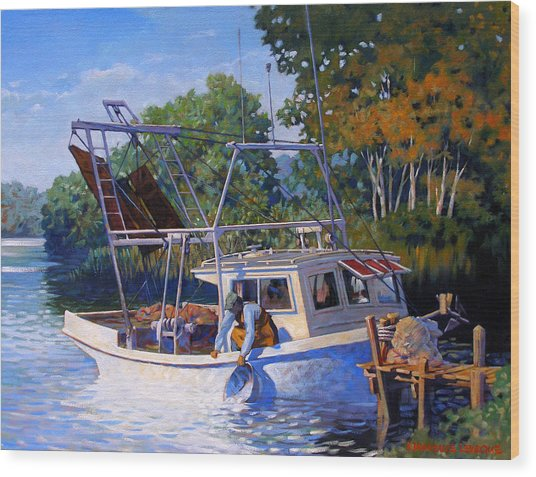 Lafitte Skiff Wood Print by Kevin Lawrence Leveque