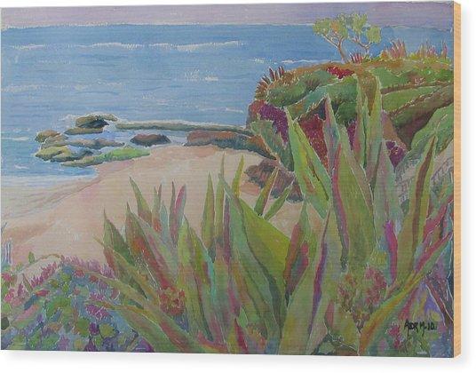 Laguna Beach Landscape Wood Print by Azor Martinez