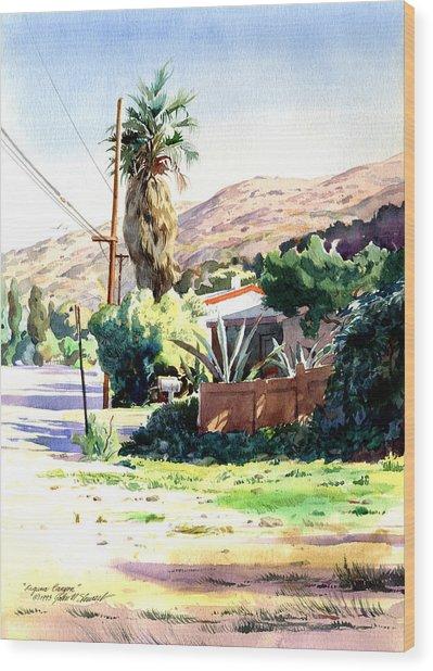 Laguna Canyon Palm Wood Print by John Norman Stewart