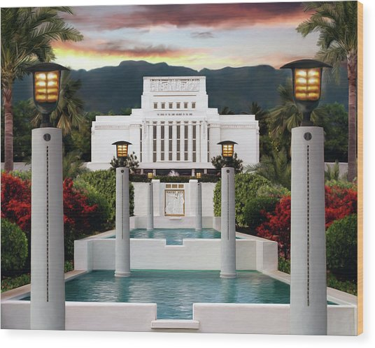 Laie Temple Wood Print by Brent Borup