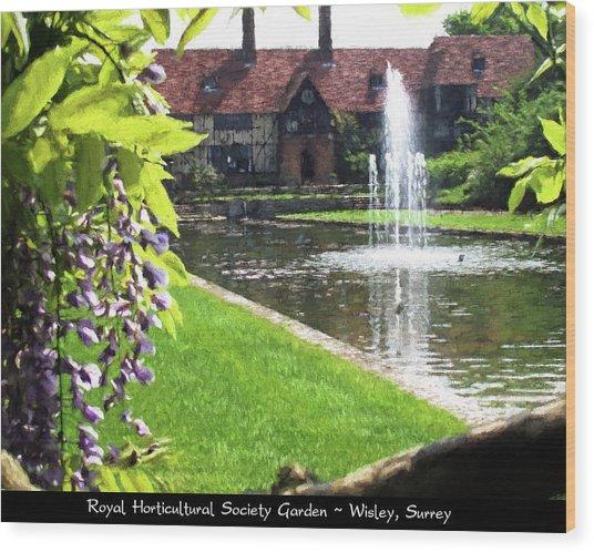 Lake And Fountain At Rhs Wisley Wood Print