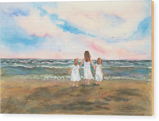 Lake Angels Wood Print by Sandra Strohschein