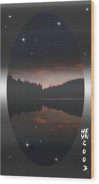 Lake At Dusk Wood Print