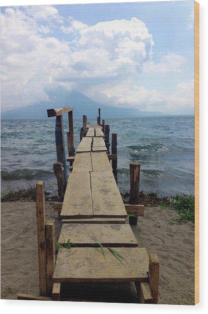 Lake Atitlan Dock Wood Print