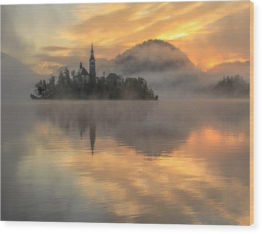 Lake Bled Sunrise Slovenia Wood Print