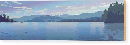 Lake Blues Wood Print by Marian Federspiel