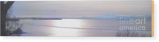 Lake Champlain South From Atop Battery Park Wall Panorama Wood Print
