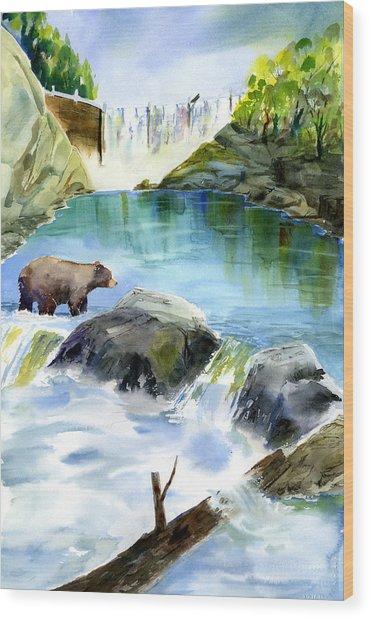 Lake Clementine Falls Bear Wood Print