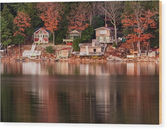Lake Cottages Reflections Wood Print