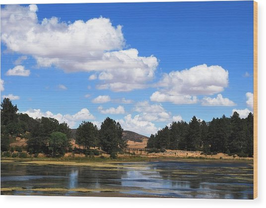 Lake Cuyamac Landscape And Clouds Wood Print