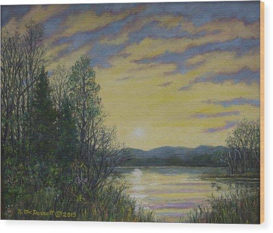 Lake Dawn Wood Print
