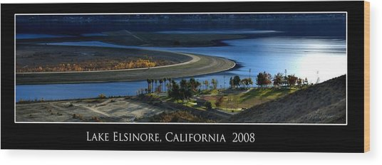 Lake Elsinore Sunset Wood Print by Richard Gordon