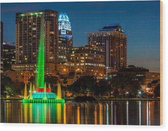Lake Eola Fountain Wood Print