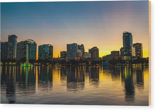 Lake Eola Sunset Wood Print