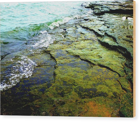 Lake Erie Flat Rocks  Wood Print