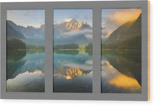 Lake Fusine In Triptych Wood Print