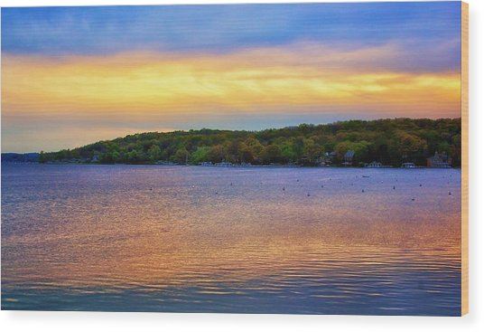 Lake Geneva Sunset Wood Print