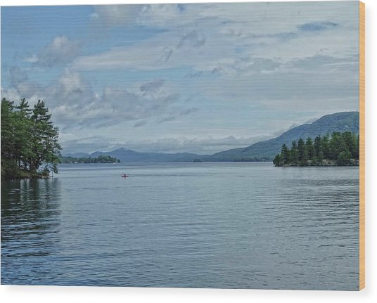 Lake George Kayaker Wood Print