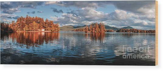 Lake George Panorama  Wood Print