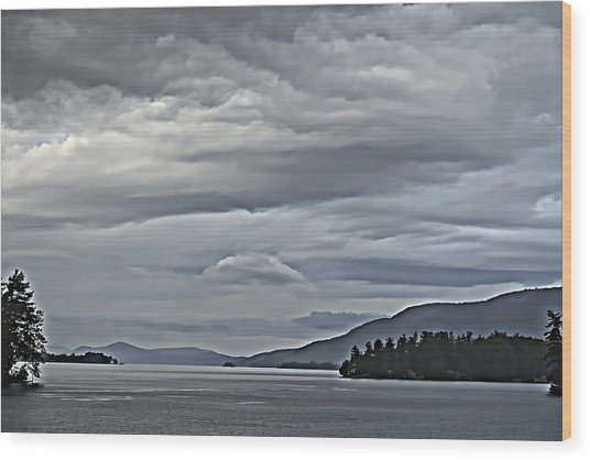 Lake George Rain And Clouds Wood Print