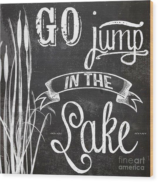 Lake House Rustic Sign Wood Print