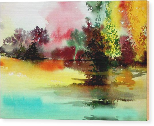 Lake In Colours Wood Print