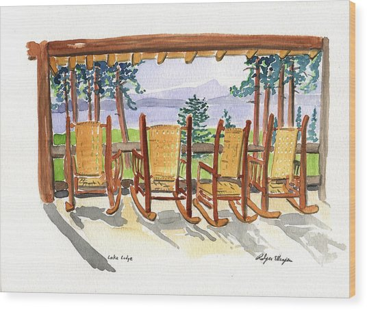 Lake Lodge Wood Print