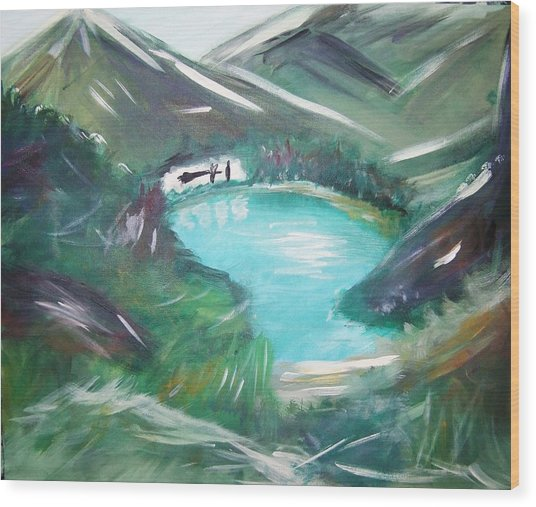 Lake Louise Wood Print by Patti Spires Hamilton