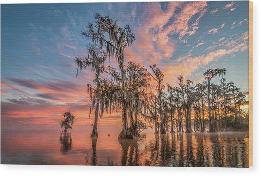 Lake Maurepas On Fire Wood Print