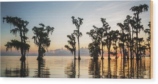 Lake Maurepas Sunrise Wood Print