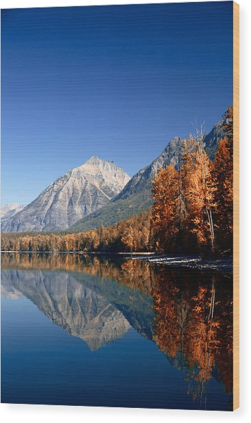 Lake Mcdonald Autumn Wood Print