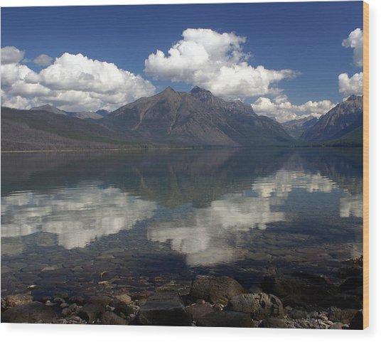 Lake Mcdonald Reflection Glacier National Park Wood Print