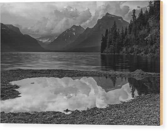 Lake Mcdonald Sunset In Black And White Wood Print
