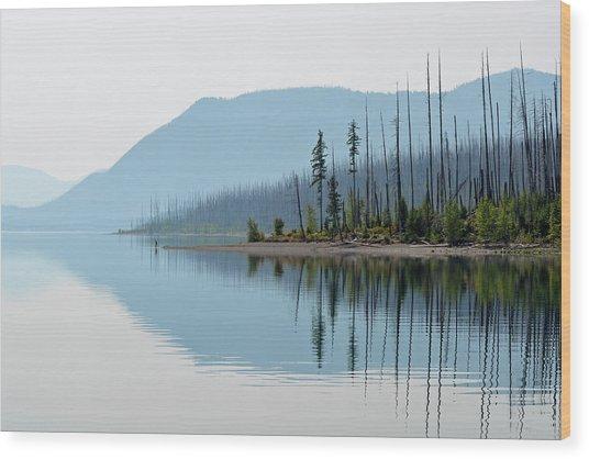 Lake Mcdonald Twin Reflections Wood Print
