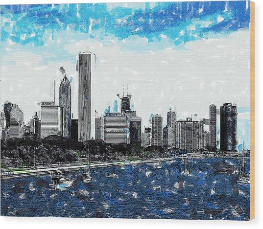 Lake Michigan And The Chicago Skyline Wood Print