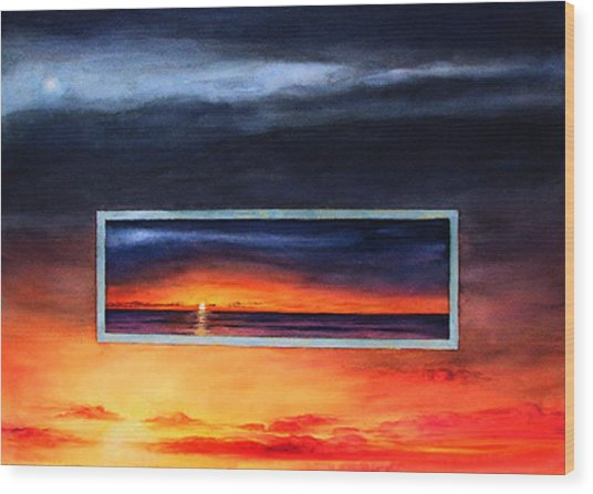Lake Michigan Sunrise Wood Print by Nancy  Ethiel