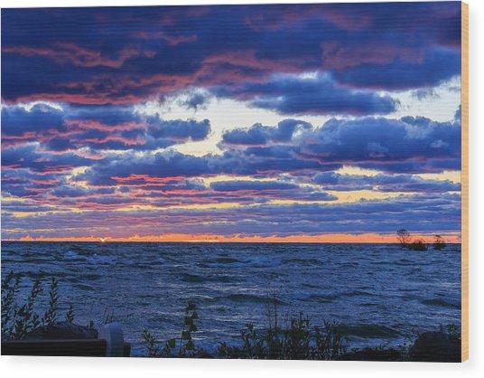 Lake Michigan Windy Sunrise Wood Print
