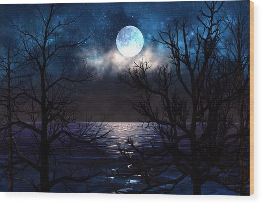 Lake Midnight Wood Print