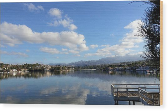 Lake Mission Viejo Cloud Reflections Wood Print