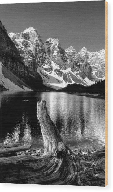 Lake Moraine Drift Wood Wood Print
