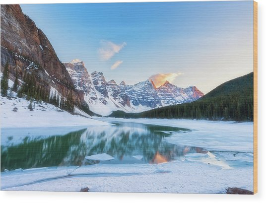 Lake Moraine Sunset Wood Print
