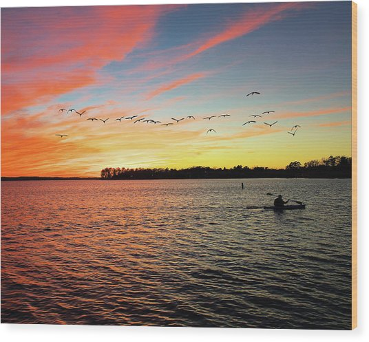 Lake Murray Fisherman Wood Print