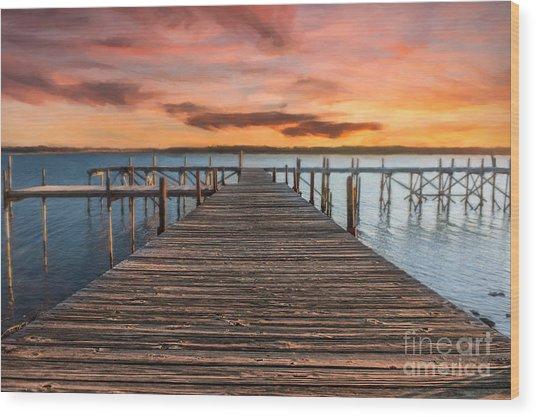 Lake Murray Lodge Pier At Sunrise Landscape Wood Print