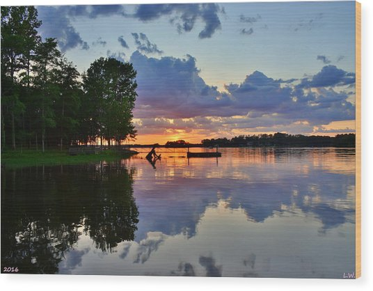 Lake Murray Sc Reflections Wood Print